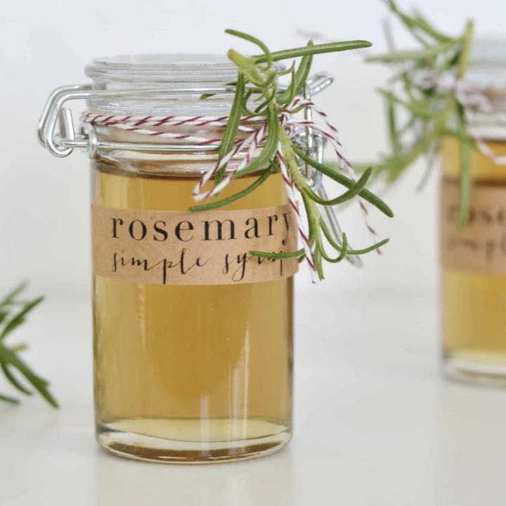 Jar of Homemade Rosemary Syrup