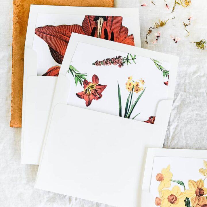 DIY Printable Floral Envelope Liners