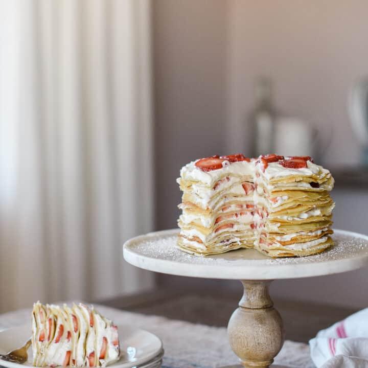 Crepe Cake Recipe with Strawberries and Cream