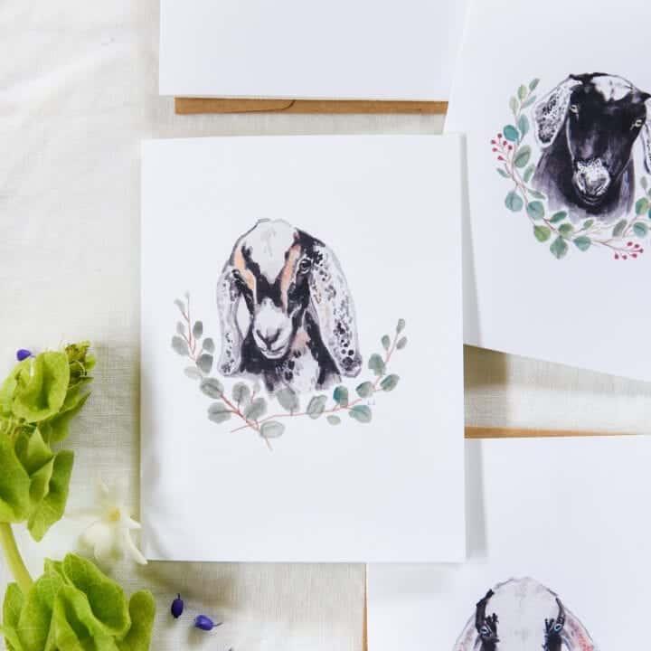 Free Printable Goat Greeting Cards