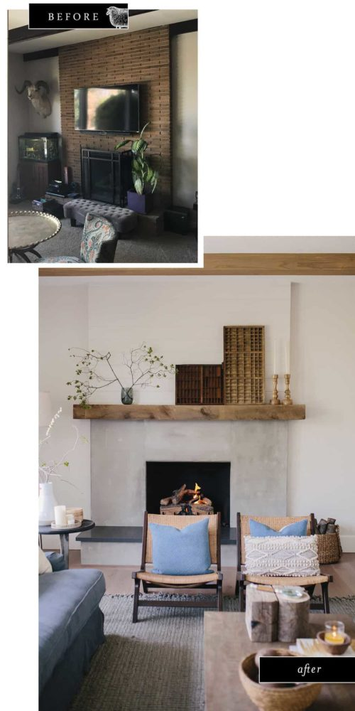 Before and after photo of brick fireplace transformation using cement and reclaimed wood