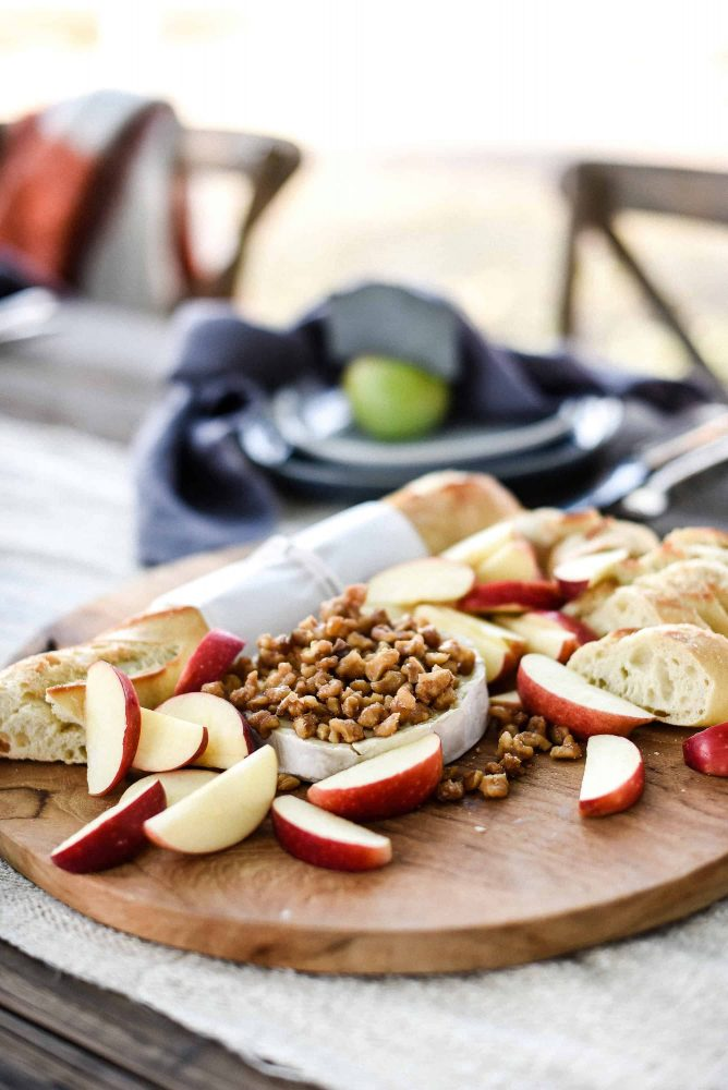 Baked Brie with Candied Walnuts for an easy fall appetizer