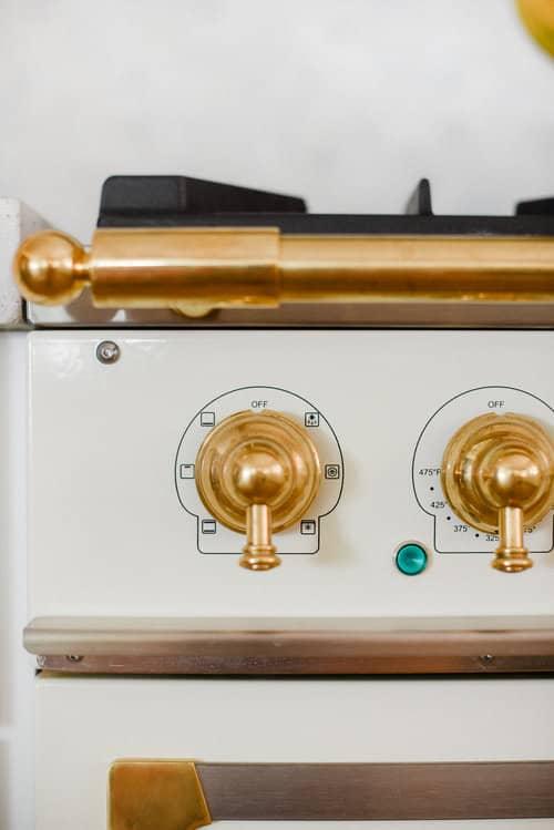 Gold French oven range knobs