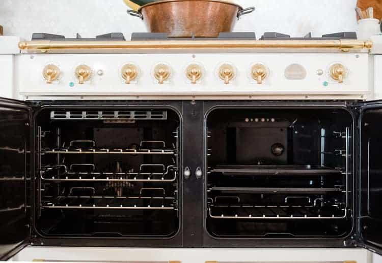 French oven range with open doors