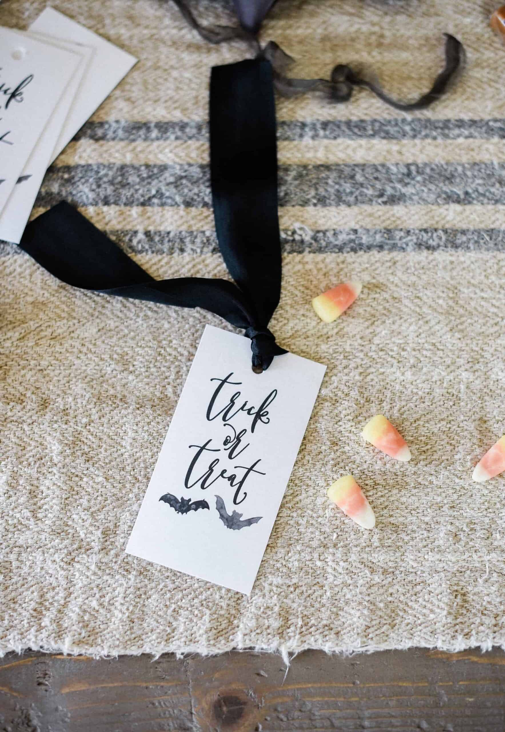 Printable Halloween Tag on Table with Black Ribbon