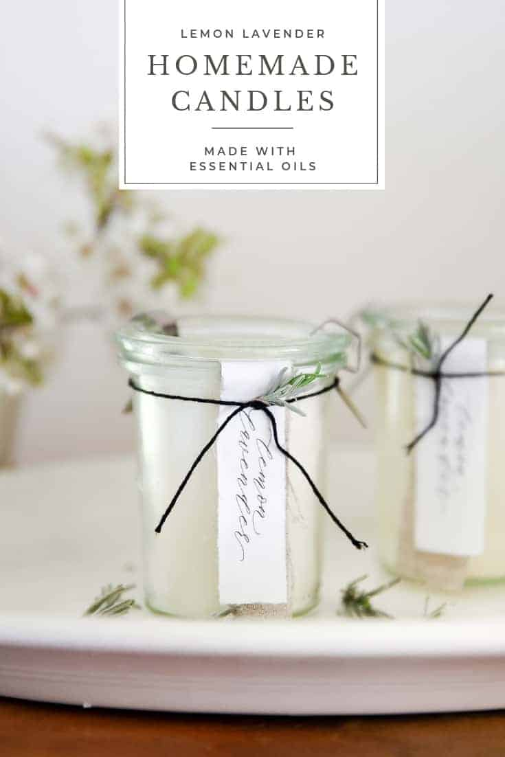 Learn how to make homemade candles with essential oils! This is a great DIY candle recipe using lavender and lemon essential oils!