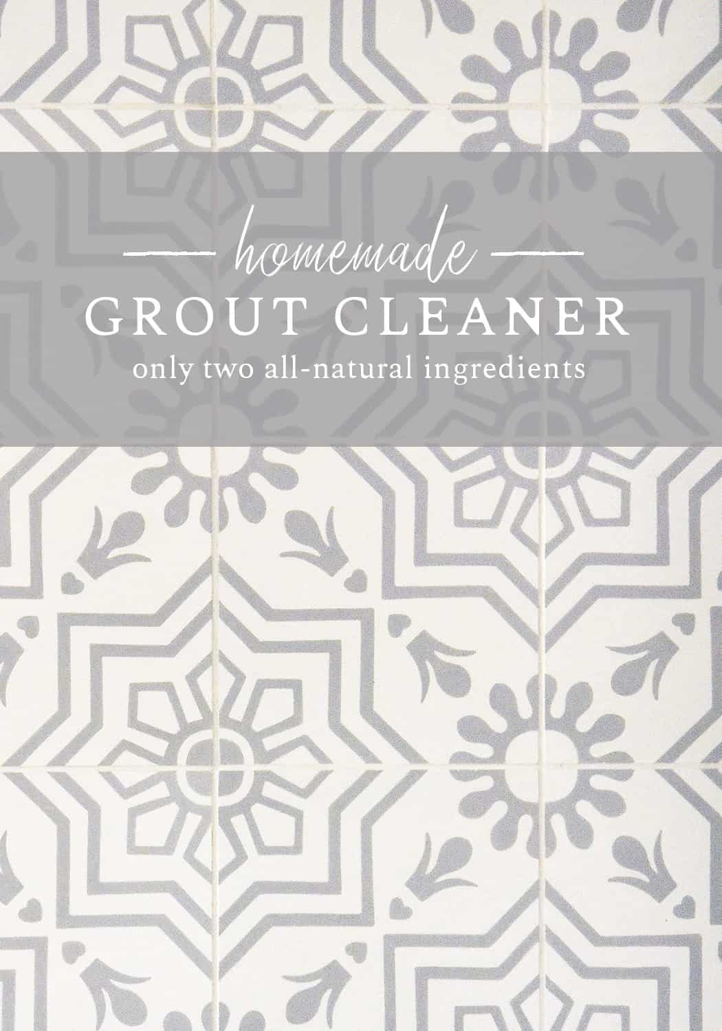 Make your own homemade grout cleaner with just two all-natural ingredients! This simple grout cleaner is amazing for white grout and to clean dirty tile floors naturally!