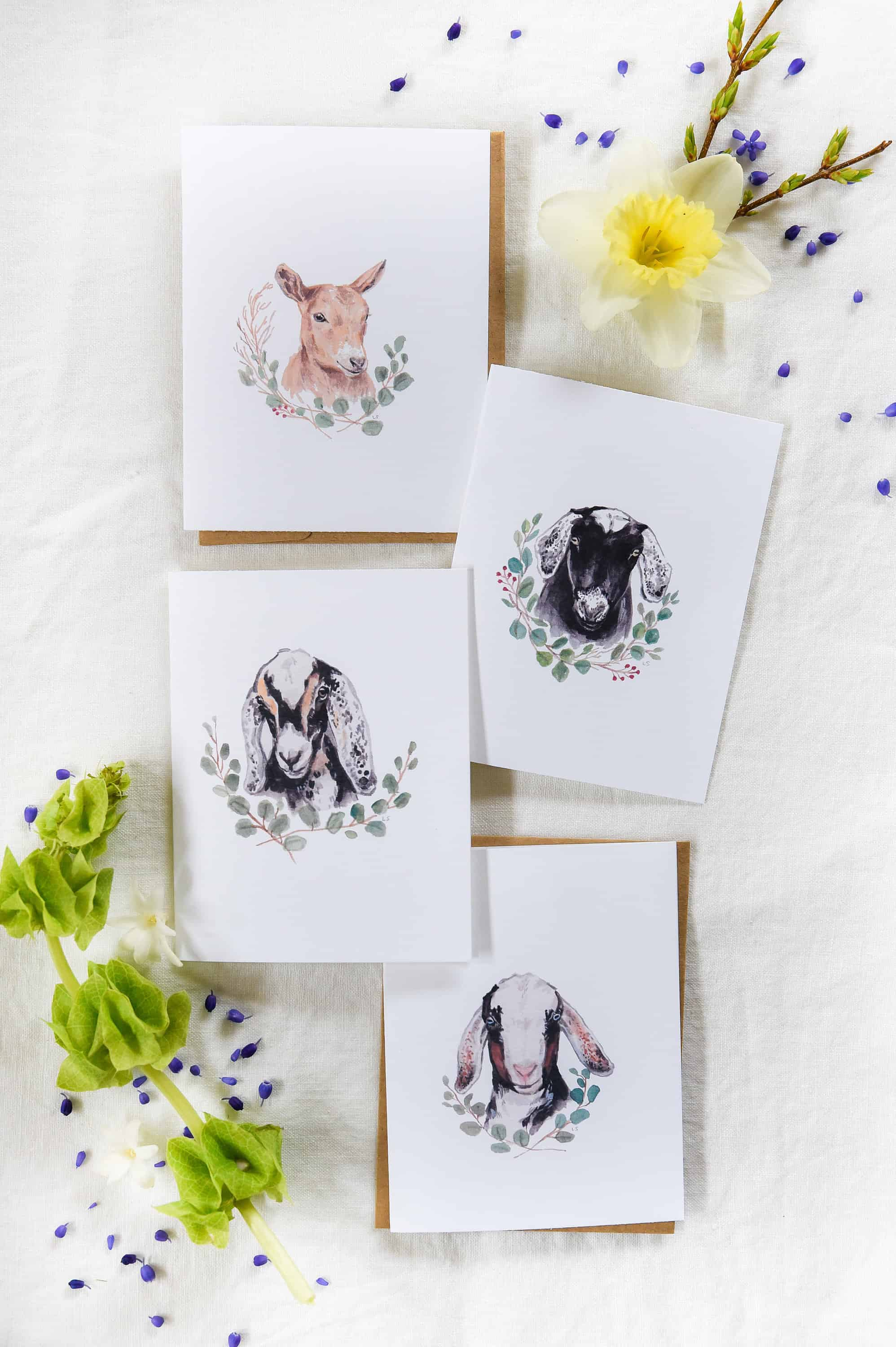 These free printable Easter card templates are perfect for spring and so easy to use! Make your own Easter cards by simply printing out these goat greeting cards, and folding in half!