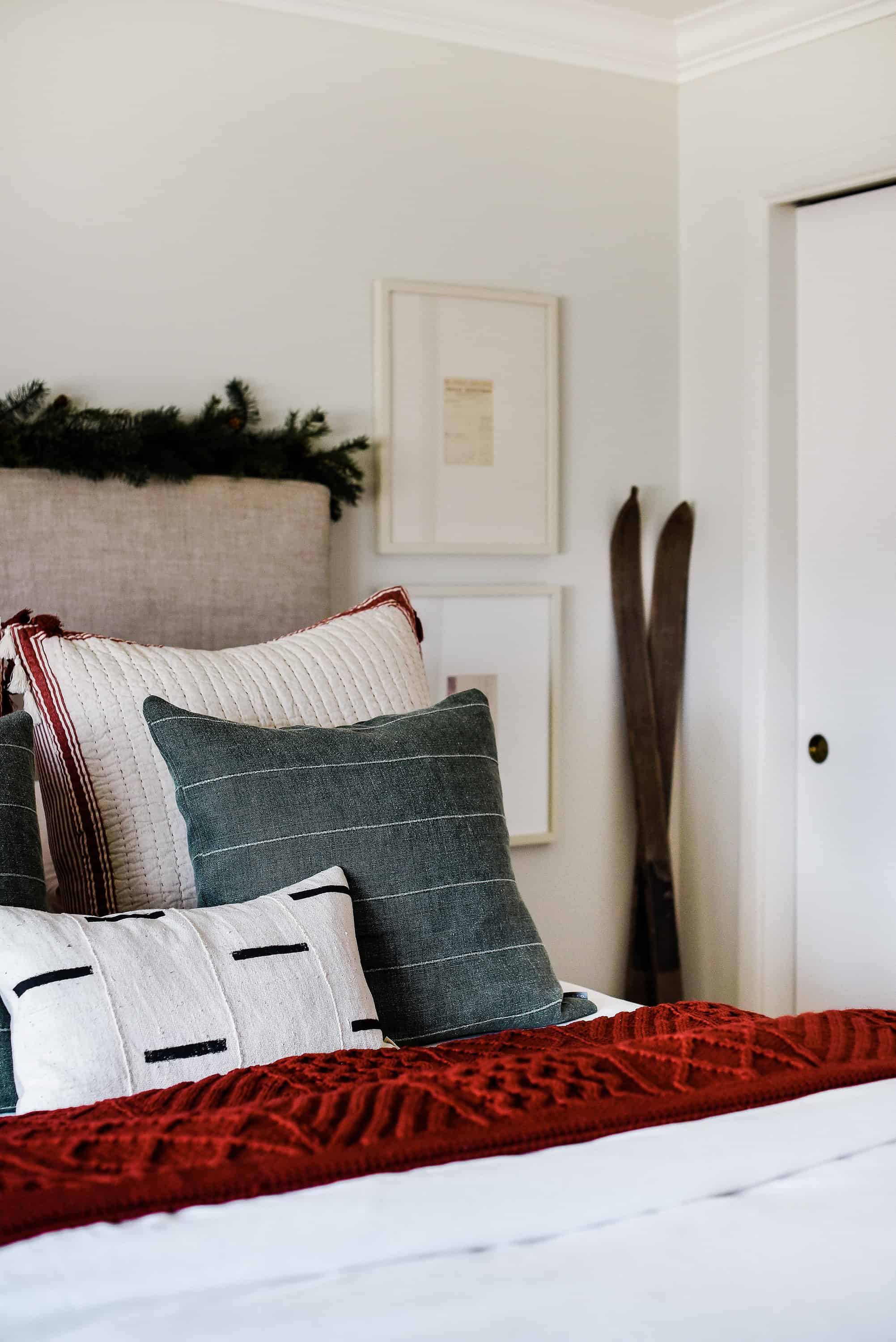 The stars of this Christmas bedroom are heirloom items found in our old farmhouse, I've repurposed them to fit with our modern aesthetic while keeping some of the old world charm. Come on in!