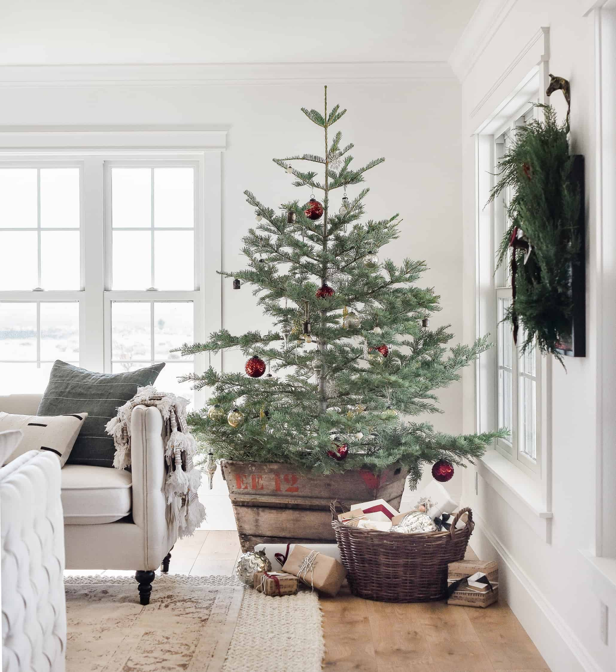 Farmhouse Christmas Decor Living Room Tree Ideas Boxwood Ave