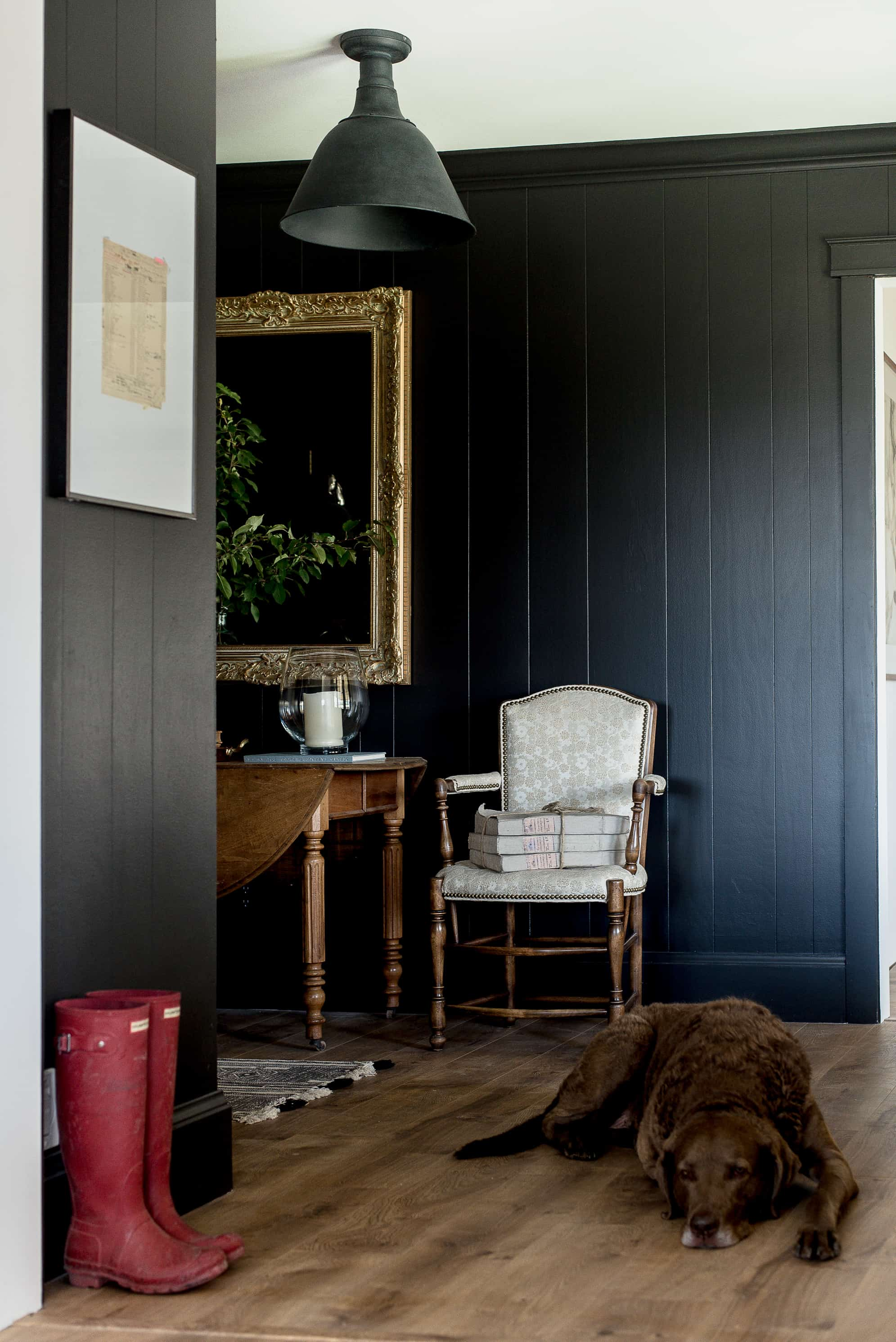 I have been a fan of deep, dark jewel tones for a long time. Actually, one of the first projects my dad and I ever worked on together in my house was simply painting our wood paneled foyer a deep eggplant color. His favorite color is purple, and he is also great at painting, so it was a win-win for us.