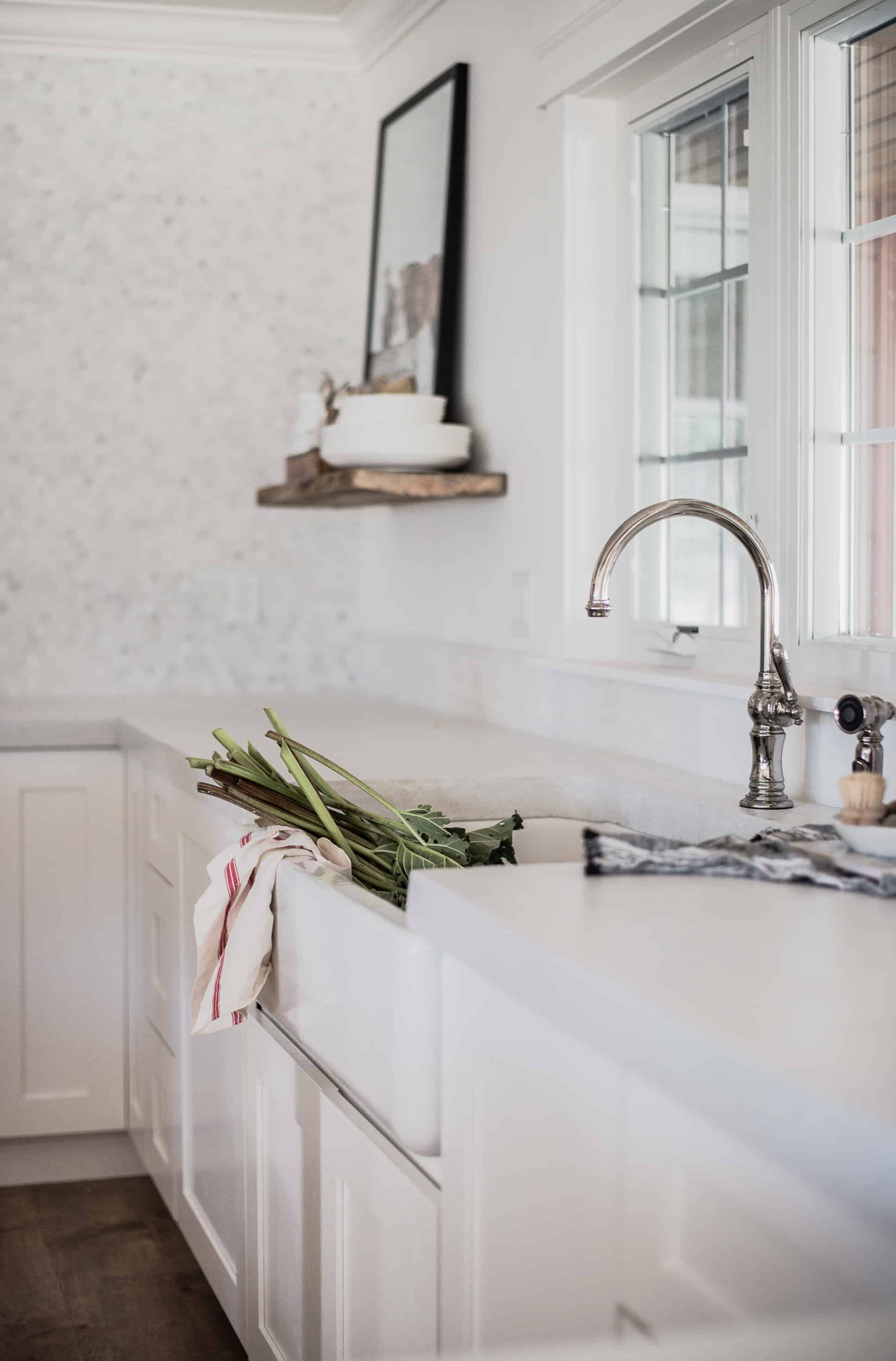 White concrete countertops are a beautiful organic element in a kitchen, after pouring, they must be properly sealed for longevity!