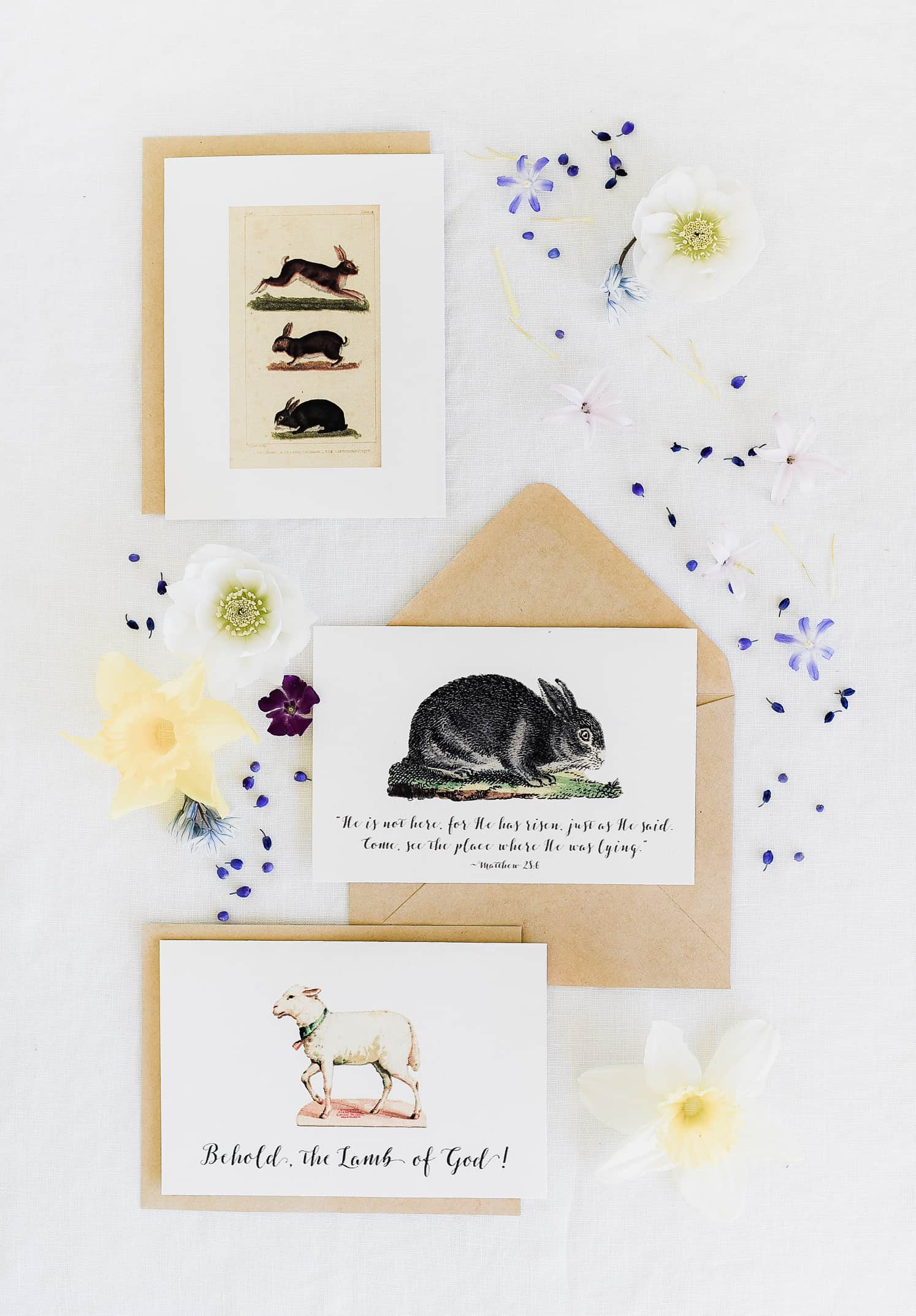 printable easter cards with rabbits, goats, and quotes