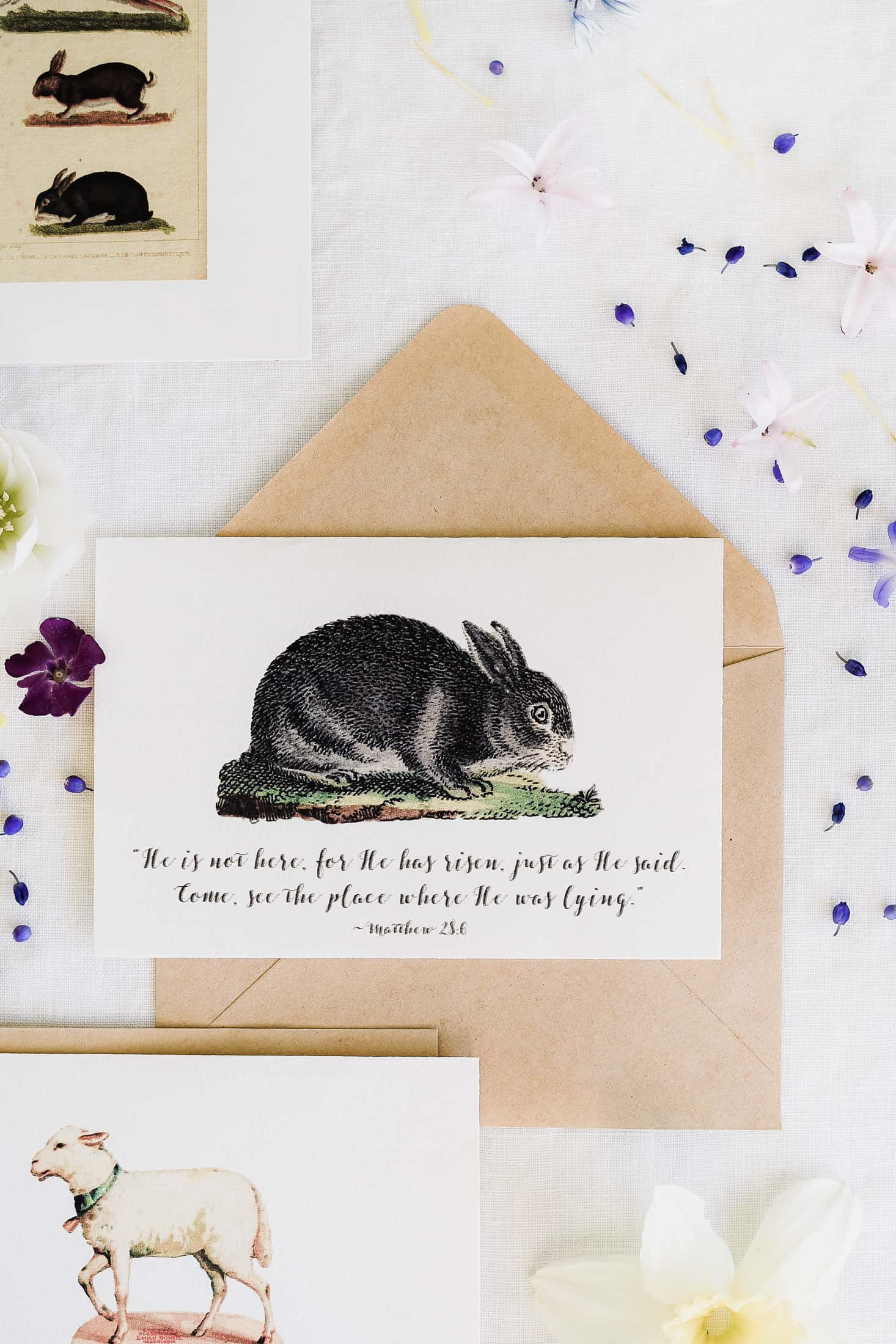 printable easter cards with rabbits, sheep, and quotes