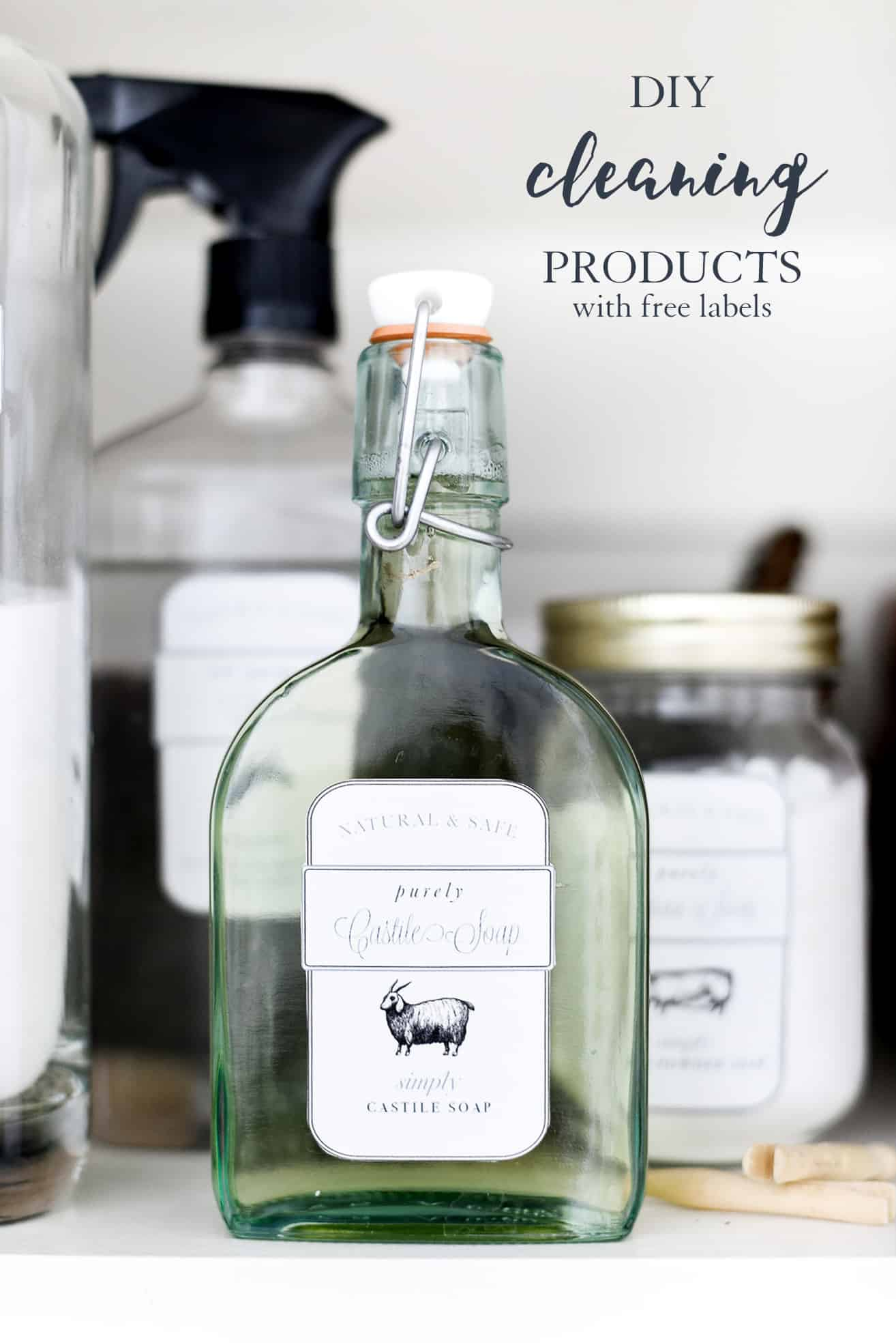 diy cleaning products with free printable labels with farm animals