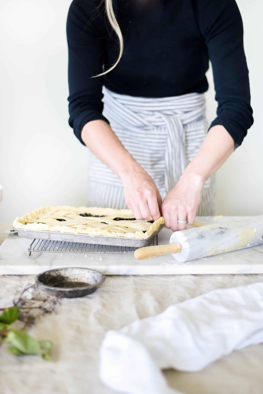 making elderberry pie