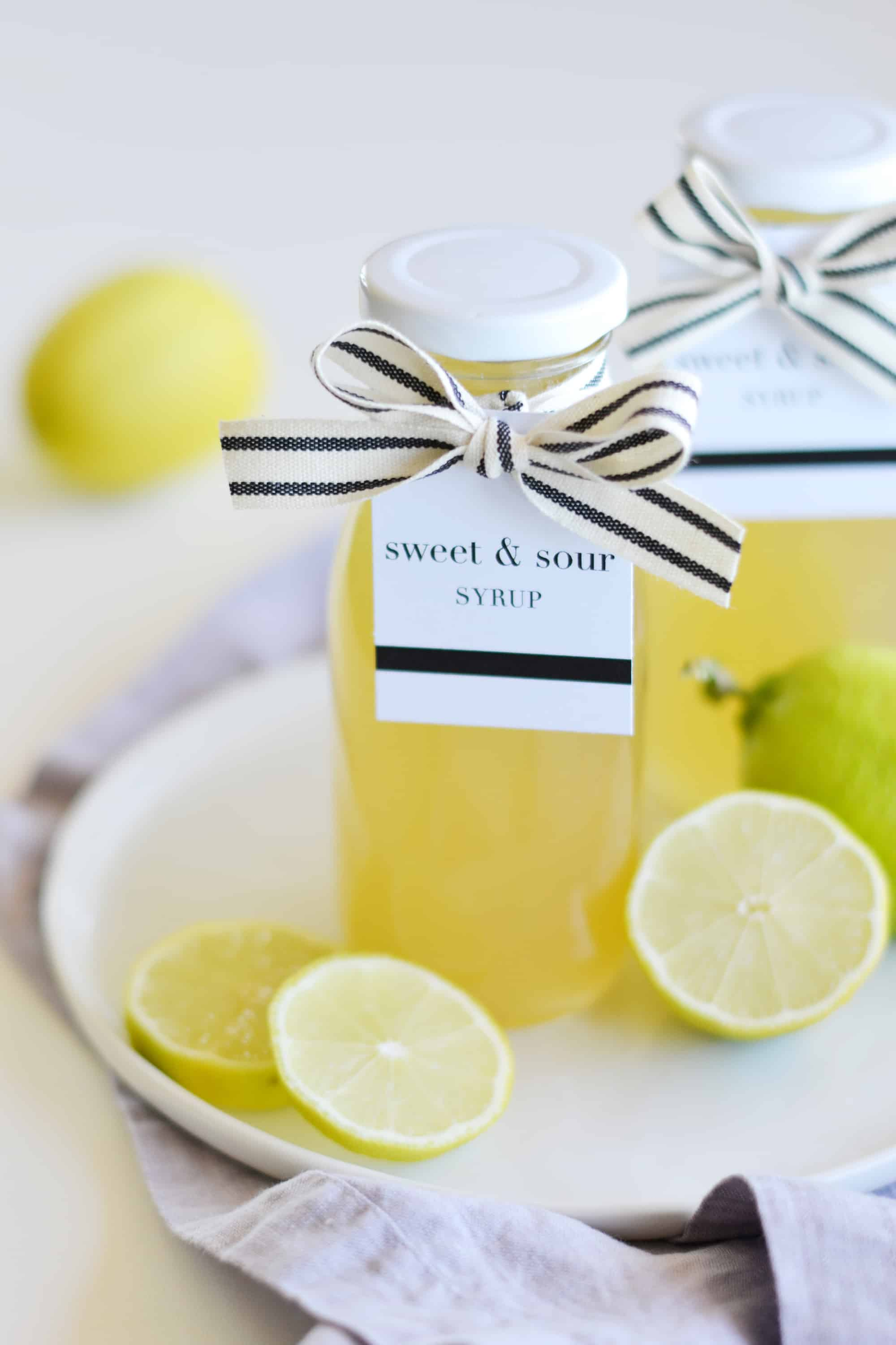 sweet and sour syrup in a jar