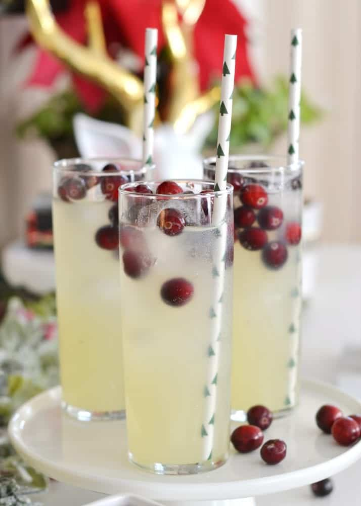 Champagne Party Punch Sangria with cranberries