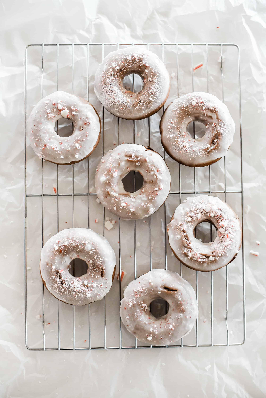 Best Christmas Desserts: Baked Peppermint Bark Christmas Donuts