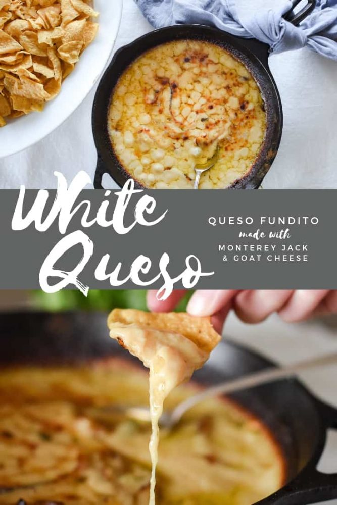 White Queso dip with monterey jack and goat cheese