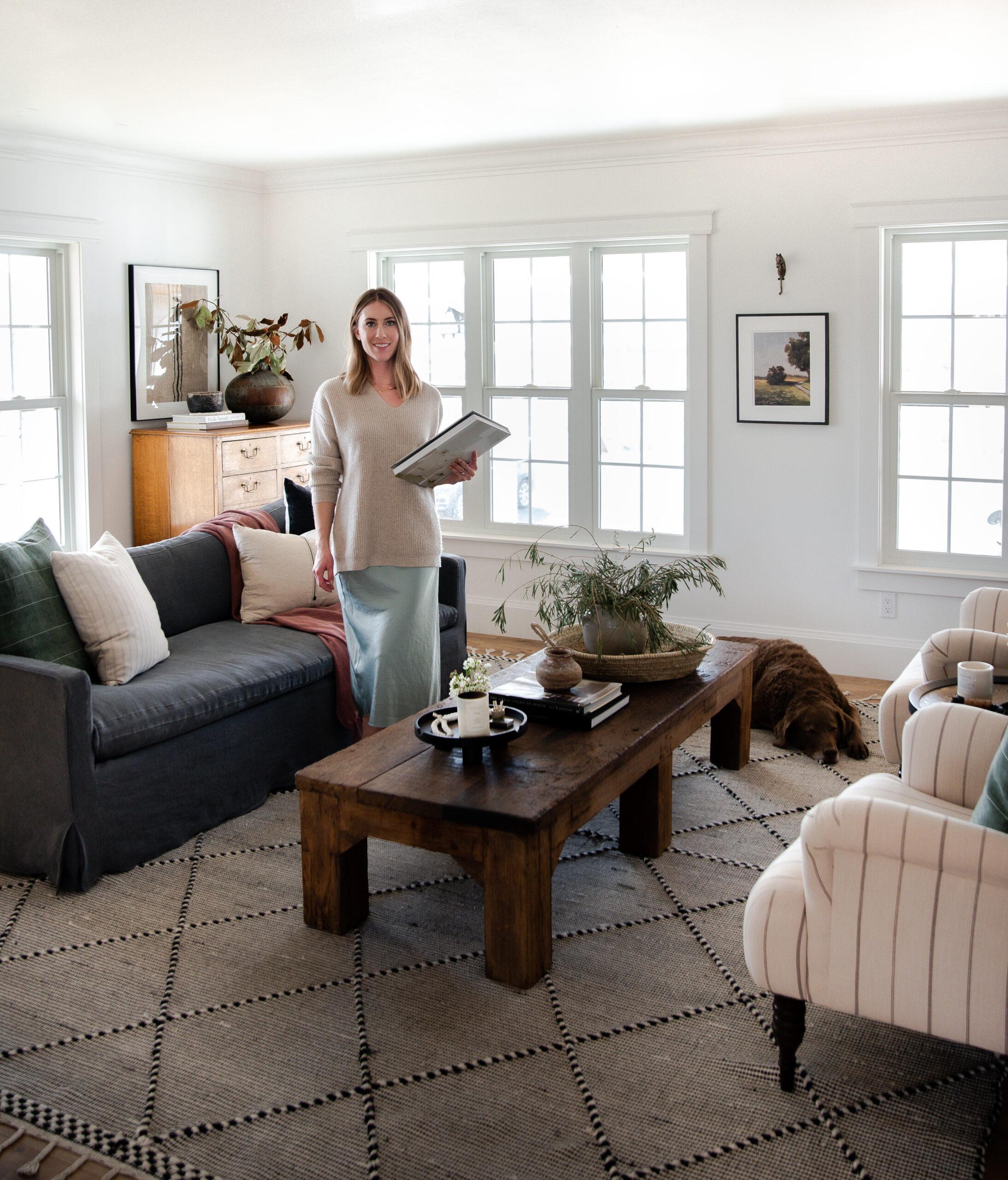 girl in farmhouse living room design