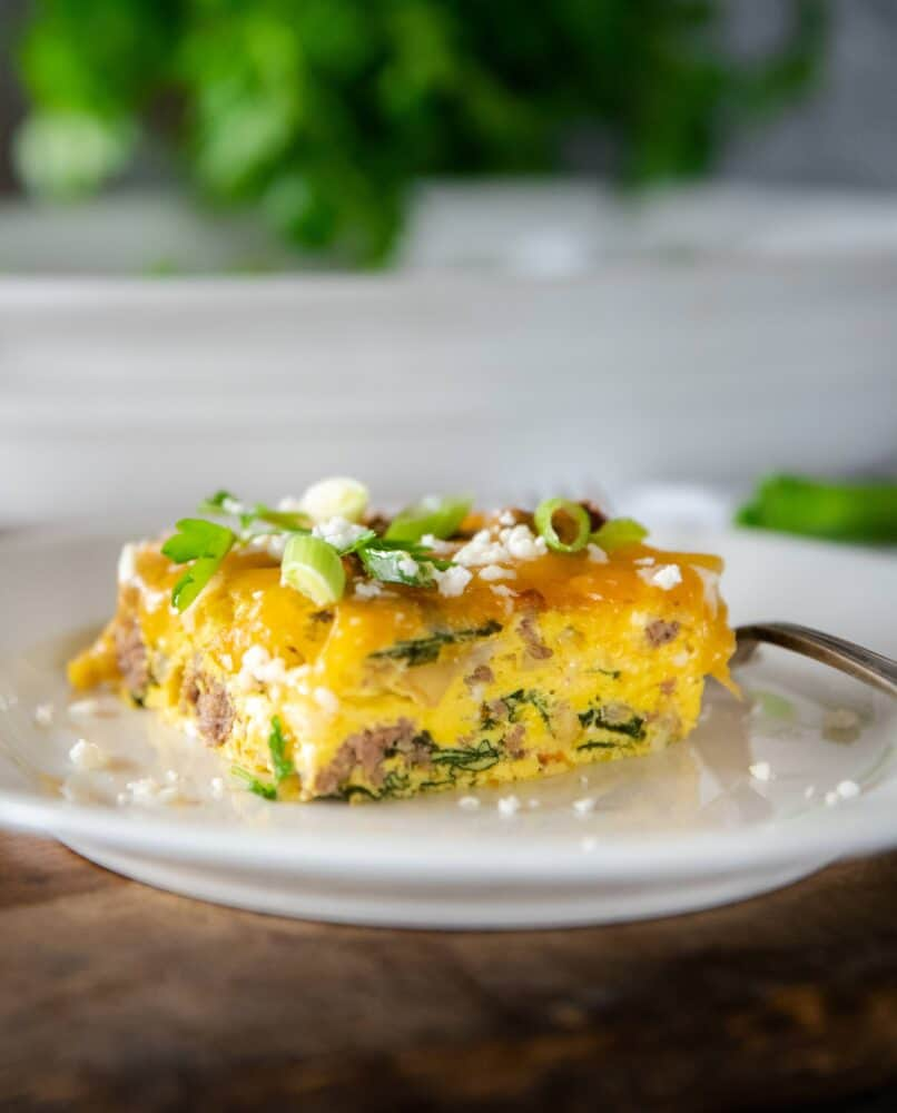 Ground Beef Egg Bake Casserole with Spinach and Mushrooms