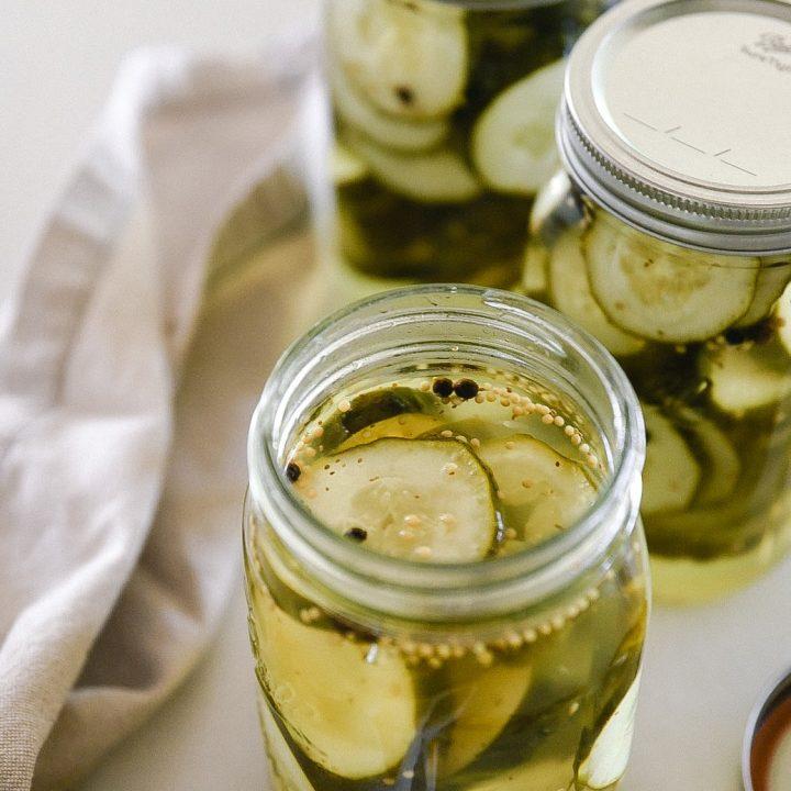 Jar of bread & butter pickles