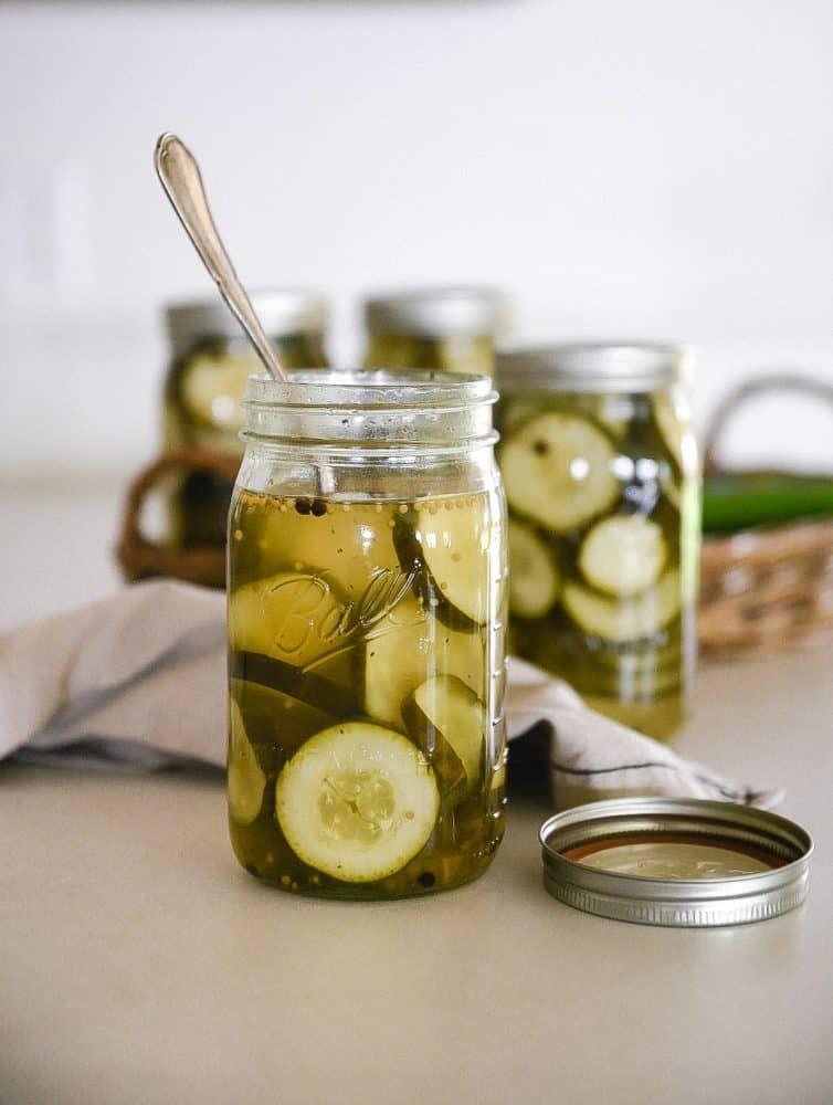 bread & butter pickles in jar