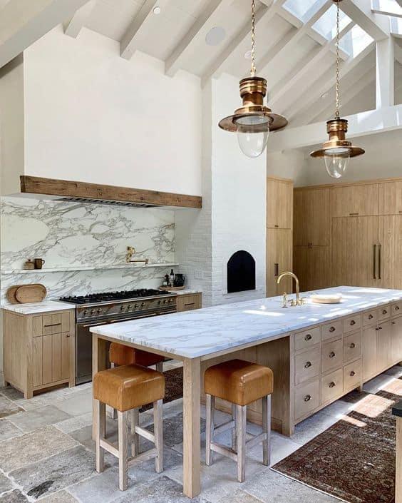 Marble Kitchen Floating Shelf under range hood