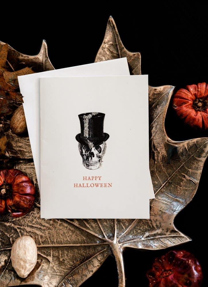 Halloween Skull Card on brass leaf