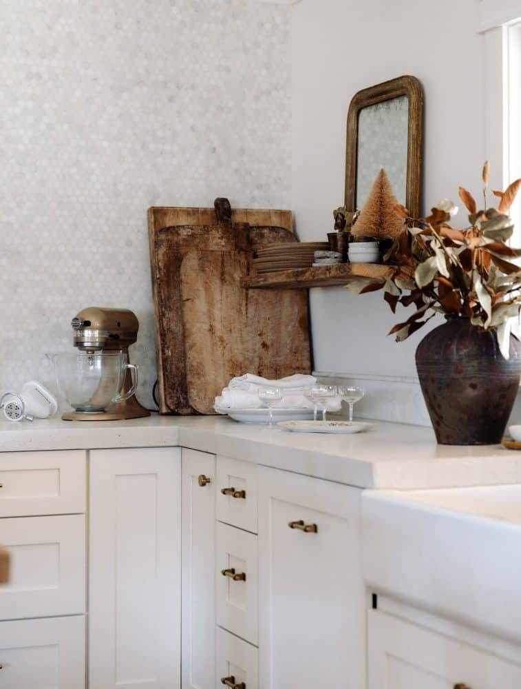 White farmhouse kitchen with vintage finds