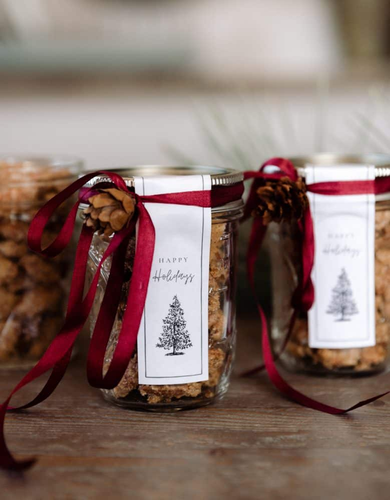 Mason Jar with Candied Almonds and Gift Tag with Red Ribbon