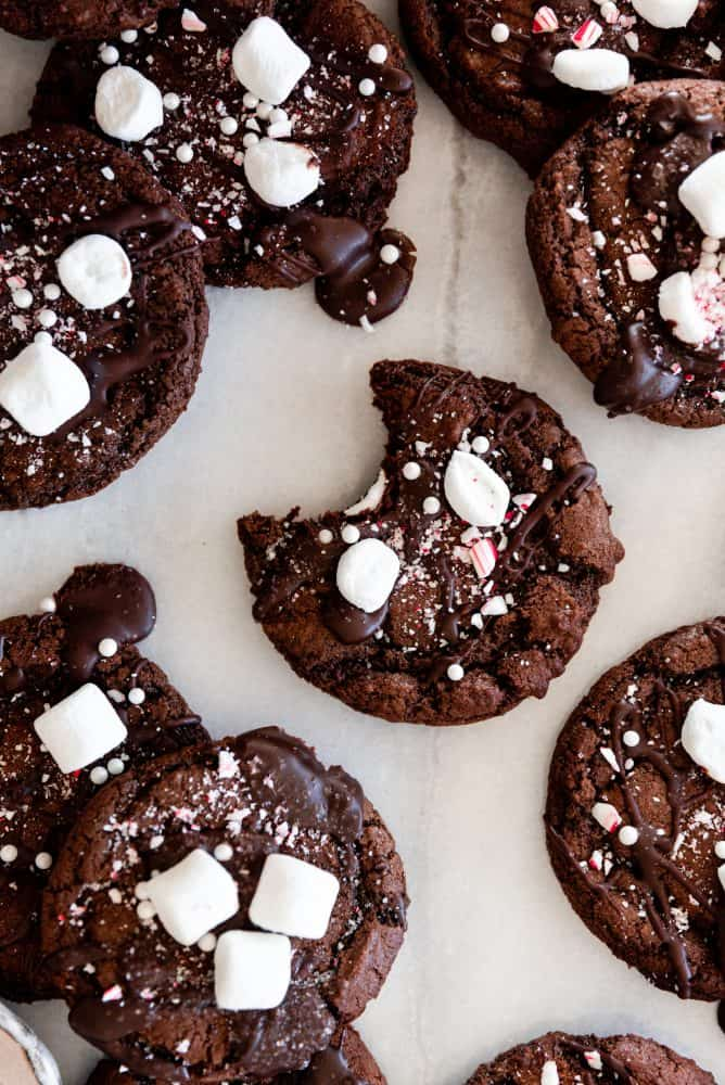 Hot Cocoa Cookies with Marshmallows and Crushed Candy Cane