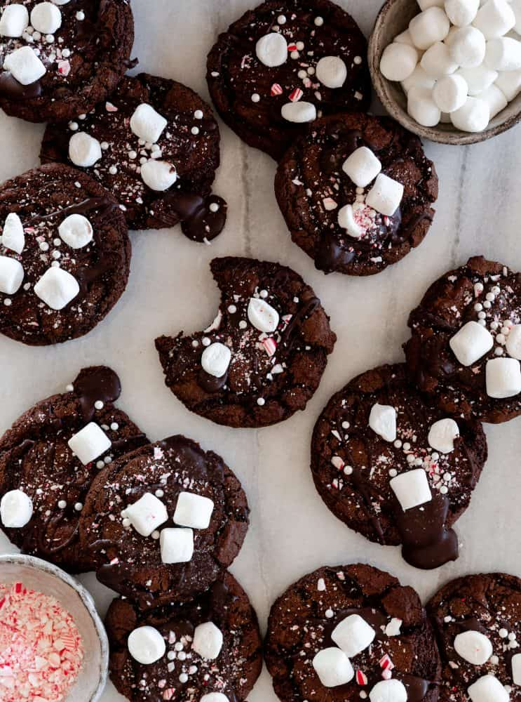 Hot Chocolate Cookies with Marshmallows and Crushed Candy Cane