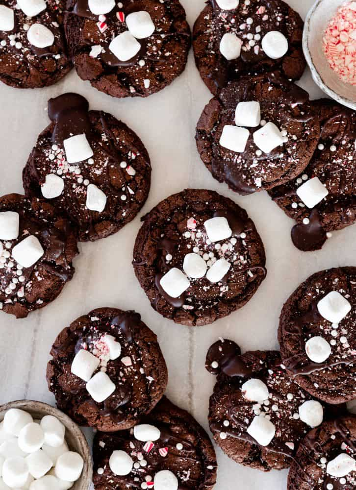Hot Coco Cookies with Marshmallows and Crushed Candy Cane
