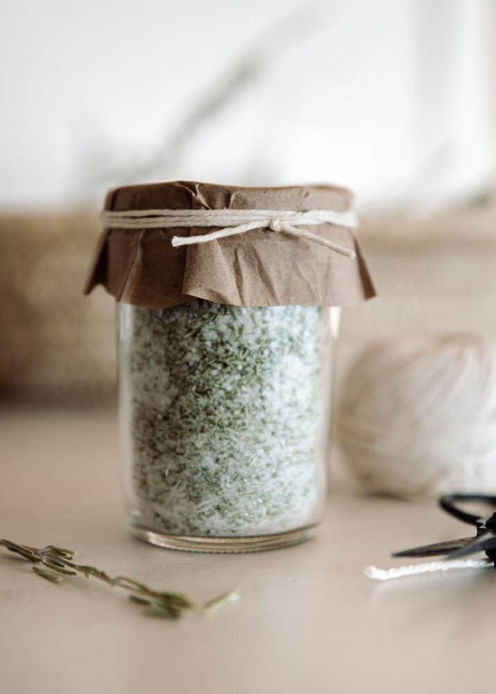 Jar of Rosemary Salt in Ball Canning Mason Jar