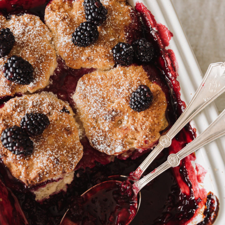Blackberry cobbler served in a white dish topped with blackberries and powdered sugar.